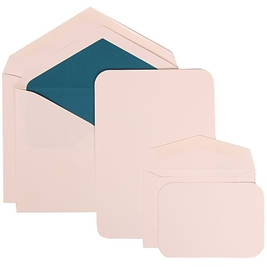 JAM Paper® Wedding Invitation Combo Sets, 1 Sm 1 Lg, White Cards with Rounded Edges, Blue Lined Envelopes, 150/Pack (311825212)