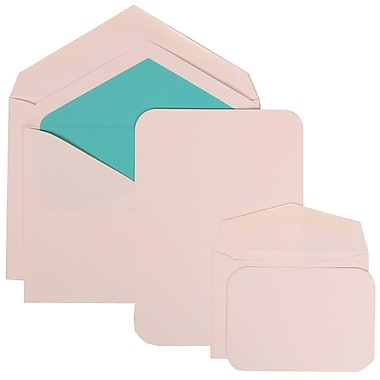 JAM Paper® Wedding Invitation Combo Sets, 1 Sm 1 Lg, White Cards with Aqua Blue Lined Envelopes, 150/Pack (311825214)