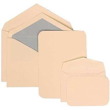 JAM Paper® Wedding Invitation Combo Sets, 1 Sm 1 Lg, Ivory Cards, Rounded Edges, Blue Lined Envelopes, 150/Pack (311925217)