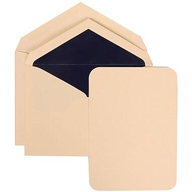 JAM Paper® Wedding Invitation Set, Large, 5.5 x 7.75, Ivory Card, Rounded Edges, Navy Blue Lined Envelopes, 50/Pack (311925218)
