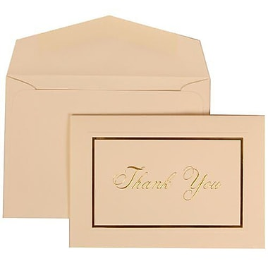 JAM Paper® Thank You Cards Set, Ivory with Gold Script, 104 Note Cards with 100 Envelopes (312025225)
