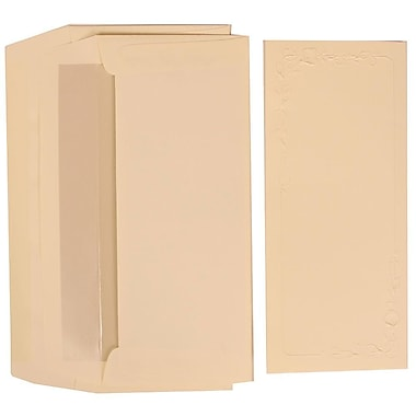 JAM Paper® Wedding Program Set, Ivory Program with Embossed Lilies and Pearl Lined Envelopes, 50/Pack (312225242)