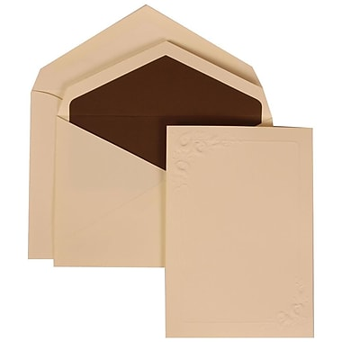 JAM Paper® Wedding Invitation Set, Medium, 5 1/8 x 7.25, Ivory Cards, Ivory Lilies, Brown Lined Envelopes, 50/Pack (312625283)
