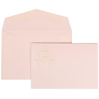 JAM Paper® Wedding Invitation Set, Small, 3.38 x 4.75, White with White Envelopes and Heart Carriage, 100/Pack (313425320)