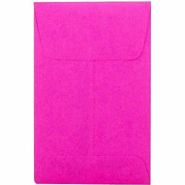 JAM Paper® #1 Coin Envelopes, 2.25 x 3.5, Brite Hue Ultra Fuchsia Pink, 100/Pack (352927832g)