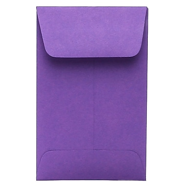 JAM Paper® #1 Coin Envelopes, 2.25 x 3.5, Brite Hue Violet Purple Recycled, 100/Pack (353027837g)