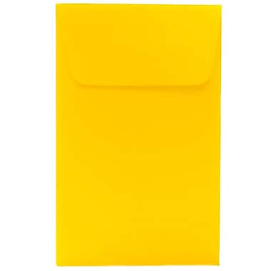 JAM Paper® #1 Coin Envelopes, 2.25 x 3.5, Brite Hue Yellow Recycled, 100/Pack (353127843g)