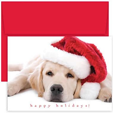 JAM Paper® Christmas Holiday Cards Set, Peace and Joy Santa Puppy, 18/Pack (526824900g)
