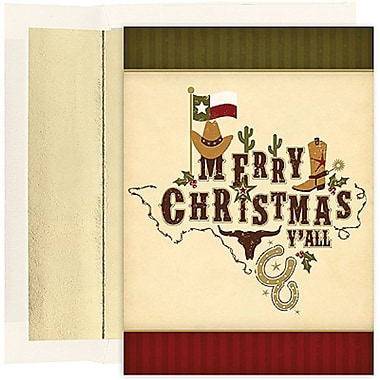 JAM Paper® Christmas Holiday Cards Set, Merry Christmas Y'all, 2 packs of 18 (526836000g)
