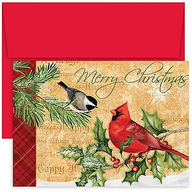 JAM Paper® Christmas Holiday Cards Set, Home for the Holidays Holiday Birds, 18/Pack (526839800g)