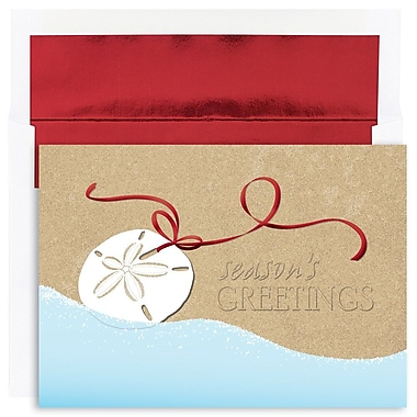 JAM Paper® Christmas Holiday Cards Set, Warm Wishes Shell Swag, 18/Pack (526844400g)