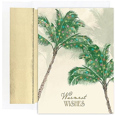JAM Paper® Christmas Holiday Cards Set, Warm Wishes Palm Trees, 36/Pack (526844500g)