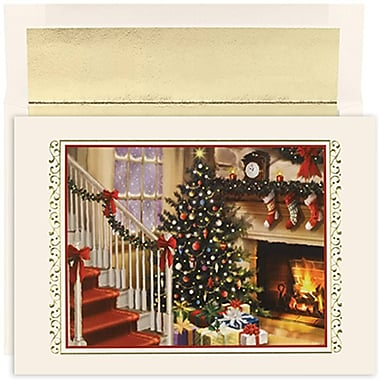 JAM Paper® Christmas Holiday Cards Set, Peace and Joy Fireside, 18/Pack (526847300g)
