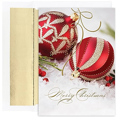JAM Paper® Christmas Holiday Cards Set, Red and Gold Ornament, 18/Pack (526849900g)