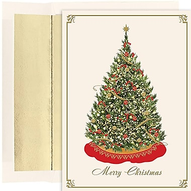 JAM Paper® Christmas Holiday Cards Set, Elegant Tree, 16/Pack (526851400)