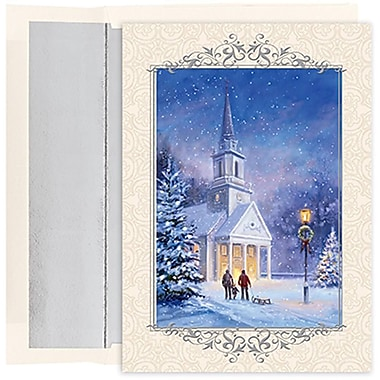 JAM Paper® Christmas Holiday Cards Set, Candlelit Church, 2 packs of 18 (526852700g)