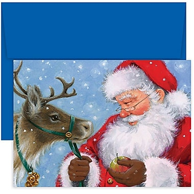 JAM Paper® Christmas Holiday Cards Set, Santa Feeding Reindeer, 18/Pack (526852900g)