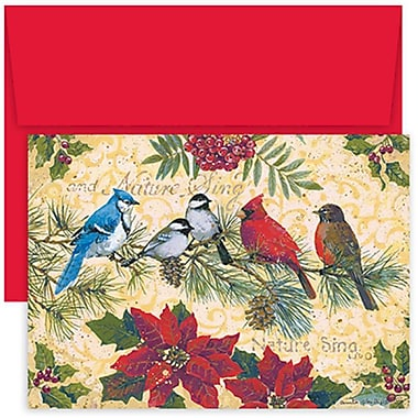 JAM Paper® Christmas Holiday Cards Set, Birds and Berries, 2 packs of 18 (526853200g)