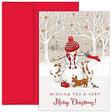 JAM Paper® Christmas Holiday Cards Set, Peace and Joy Snowman and Friends, 2 packs of 18 (526854200g)