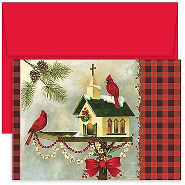 JAM Paper® Christmas Holiday Cards Set, Home for the Holidays Christmas Cardinals, 18/Pack (526854400g)
