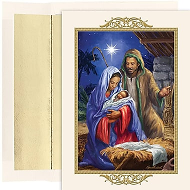 JAM Paper® Christmas Holiday Cards Set, Peace and Joy Holy Family, 18/Pack (526857600g)