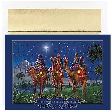 JAM Paper® Christmas Holiday Cards Set, Wisemen at Night, 18/Packs (526857800g)