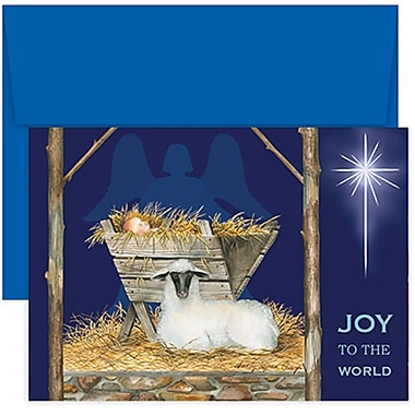 JAM Paper® Christmas Holiday Cards Set, Joy to the World, 2 packs of 18 (526860000g)