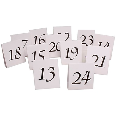 JAM Paper® Table Number Tent Cards, White and Black #13- #24, 24/Pack (2226016897g)
