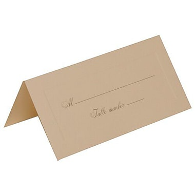 JAM Paper® Placecards, Medium, 2 x 4.25, Ivory with Gold Script Place Cards, 50/Pack (2259420977g)