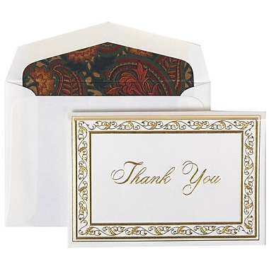 JAM Paper® Thank You Cards Set, Gold Acanthus with Blue Paisley Lined Envelope, 104 Note Cards with 100 Envelopes (52691512BP)