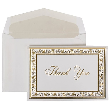 JAM Paper® Thank You Cards Set, Gold Acanthus with Crystal Lined Envelope, 104 Note Cards with 100 Envelopes (52691512CR)