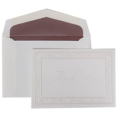 JAM Paper® Thank You Cards Set, Pearl Acanthus with Mauve Lined Envelope, 104 Note Cards with 100 Envelopes (52691522MA)