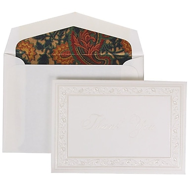 JAM Paper® Pearl Lily Thank You Foldover Cards & Envelope, 100/Pack