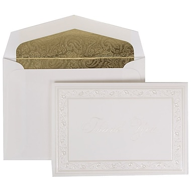 JAM Paper® Thank You Cards Set, Pearl Lily with Gold Paisley Lined Envelope, 104 Note Cards with 100 Envelopes (52691922GP)