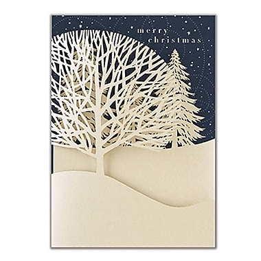 JAM Paper® Christmas Holiday Cards Set, Winter Treeline, 12/Pack (526E1222MB)