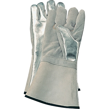 Aluminized Gloves, SA509, Split Leather, 2/Pack