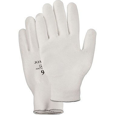 White Knit Polyurethane Palm Gloves, SAJ775, Polyurethane, 6/Pack