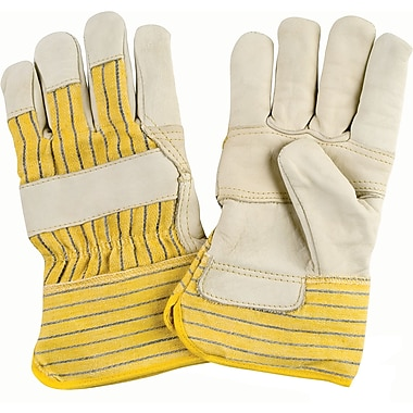 Grain Cowhide Fitters Cotton Fleece Lined Patch Palm Gloves, SAM023, Grain Cowhide Leather, 12/Pack