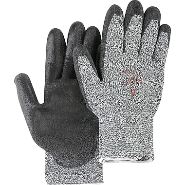 Salt & Pepper Knit With Black Polyurethane Palm Gloves, SAN299, Polyurethane, 12/Pack
