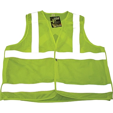 Sports Mesh Safety Vests, Fluorescent Lime Yellow, SAR623, 3/Pack