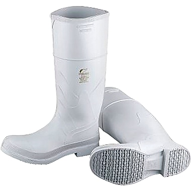 White PVC Steel Toe Boots, Size, 8, SC575, 2/Pack