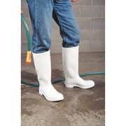 White PVC Steel Toe Boots, Size, 9, SC576, 2/Pack