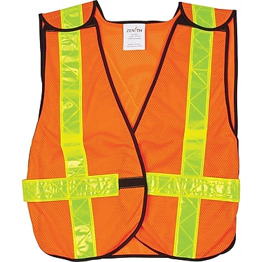 Zenith Safety 5-Point Tear-Away Orange Traffic Vest, Medium, 12/Pack