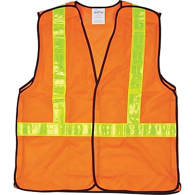 CSA Compliant 5-Point Tear-Away Traffic Safety Vests, Orange, SEF097, 4/Pack