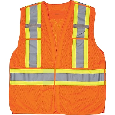 Traffic Vest, CSA Compliant Surveyor, Orange, SEF102, 6/Pack