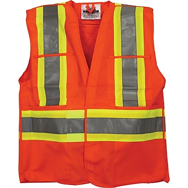 Traffic Safety Vests, Orange, SEI377, 4/Pack