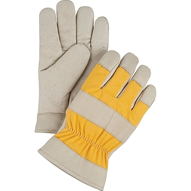 Grain Pigskin Fitters Cotton Fleece-Lined Gloves, SEI571, Grain Pigskin Leather, 12/Pack