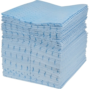 Blue Bonded Sorbent Pads, Oil Only, SEJ186, Heavy-Weight, 100/Pack