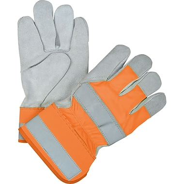 Superior Quality High-Viz Split Cowhide Fitters Gloves, SEK236, Split Cowhide, 36/Pack