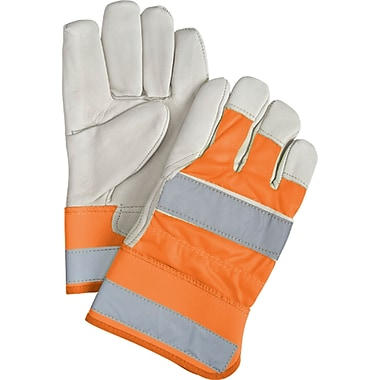 Superior Quality High-Viz Grain Cowhide Fitters Gloves, SEK242, Grain Cowhide Leather, 12/Pack
